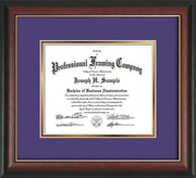 Image of Custom Rosewood with Gold Lip Art and Document Frame with Purple on Gold Mat
