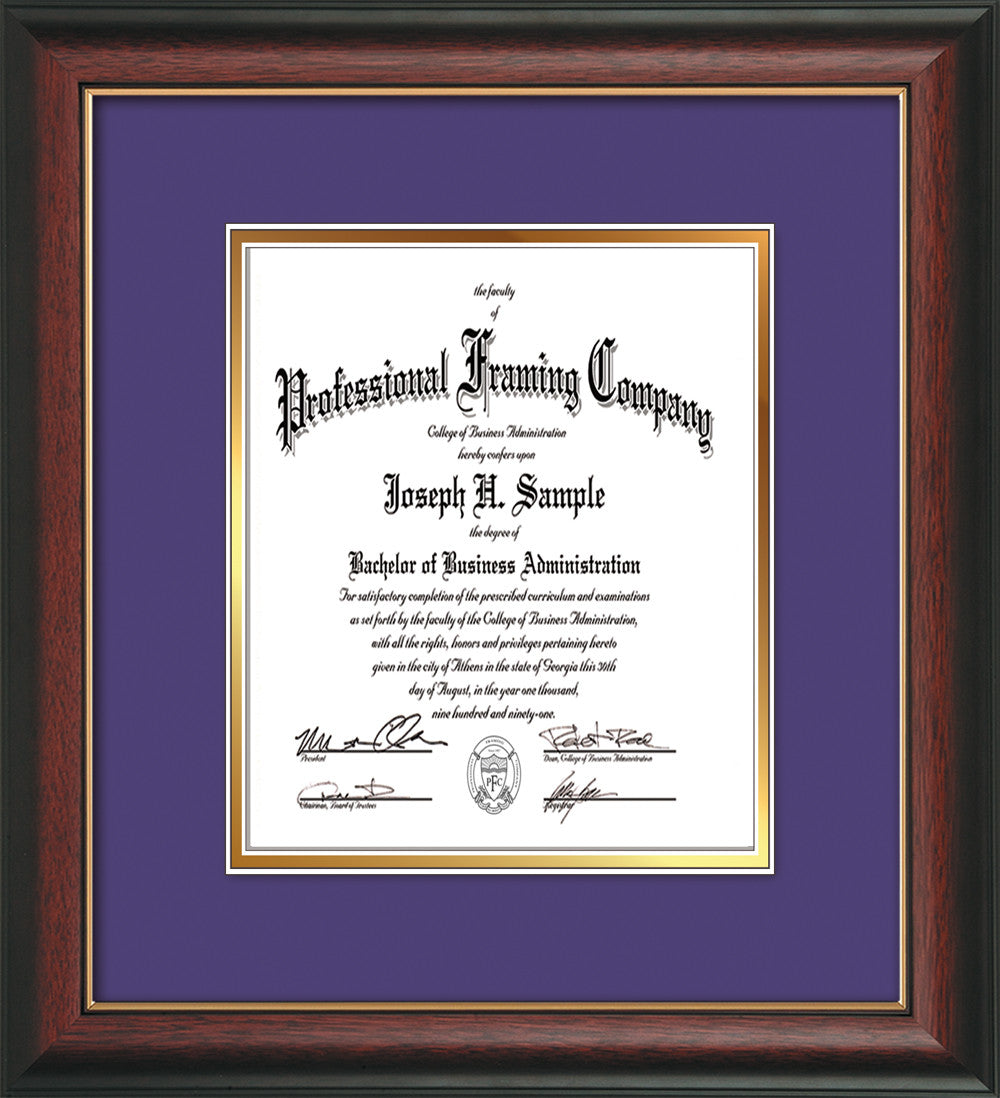 Rosewood With Gold Lip Document Certificate Frame Purple On Gold