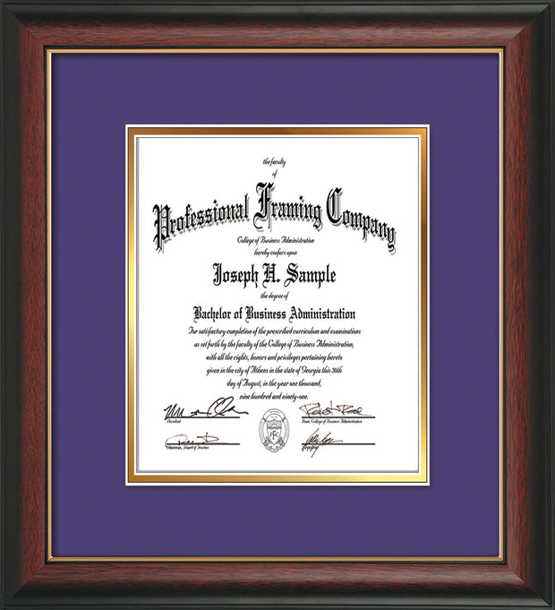 Image of Custom Rosewood with Gold Lip Art and Document Frame with Purple on Gold Mat Vertical