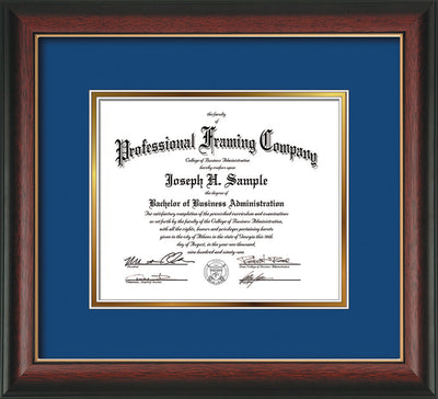 Image of Custom Rosewood with Gold Lip Art and Document Frame with Royal Blue on Gold Mat