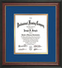 Image of Custom Rosewood with Gold Lip Art and Document Frame with Royal Blue on Gold Mat Vertical