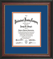 Image of Custom Rosewood with Gold Lip Art and Document Frame with Royal Blue on Orange Mat Vertical