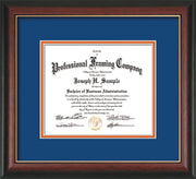 Image of Custom Rosewood with Gold Lip Art and Document Frame with Royal Blue on Orange Mat