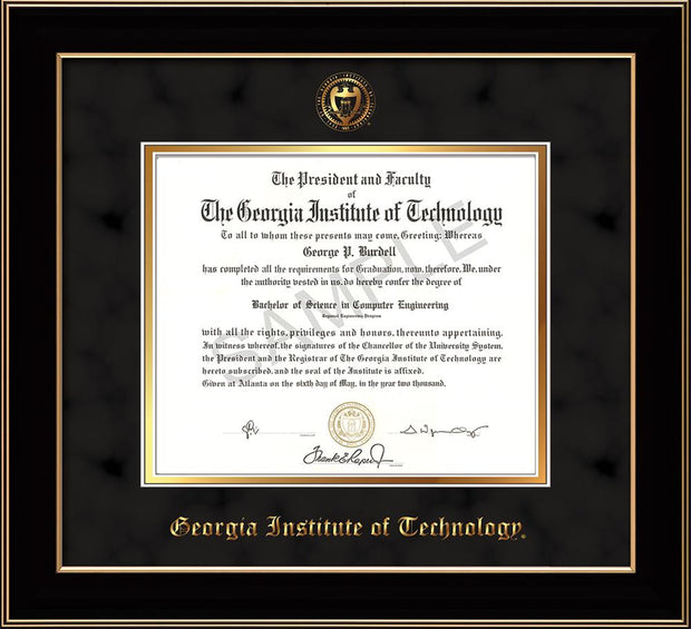 Image of Georgia Tech Diploma Frame - Black Lacquer - w/Embossed Seal & Name - Black Suede on Gold mat
