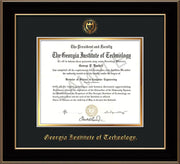 Image of Georgia Tech Diploma Frame - Black Lacquer - w/Embossed Seal & Name - Black on Gold mat