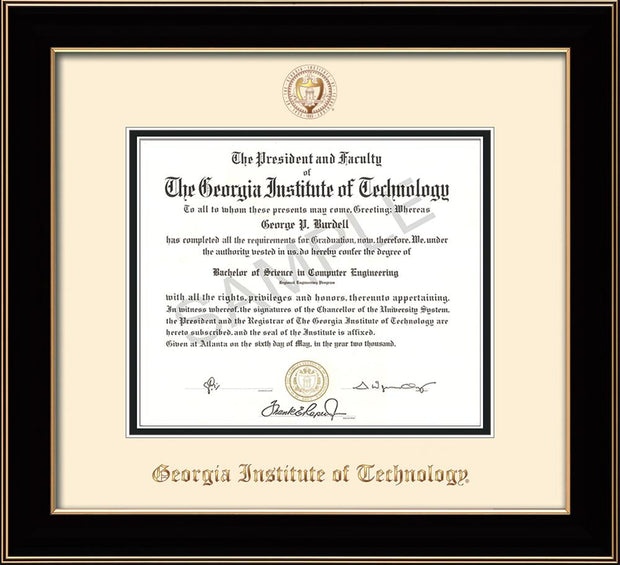 Image of Georgia Tech Diploma Frame - Black Lacquer - w/Embossed Seal & Name - Cream on Black mat