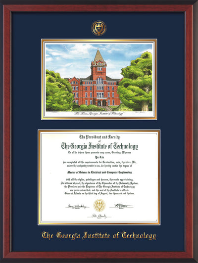 Image of Georgia Tech Diploma Frame - Cherry Reverse - w/Embossed GT Seal & Name - w/Campus Watercolor - Navy on Gold mat