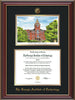 Image of Georgia Tech Diploma Frame - Cherry Lacquer - w/Embossed GT Seal & Name - w/Campus Watercolor - Black on Gold mat