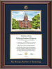 Image of Georgia Tech Diploma Frame - Cherry Lacquer - w/Embossed GT Seal & Name - w/Campus Watercolor - Navy on Gold mat