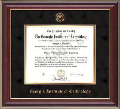 Image of Georgia Tech Diploma Frame - Cherry Lacquer- w/Embossed Seal & Name - Black Suede on Gold mat