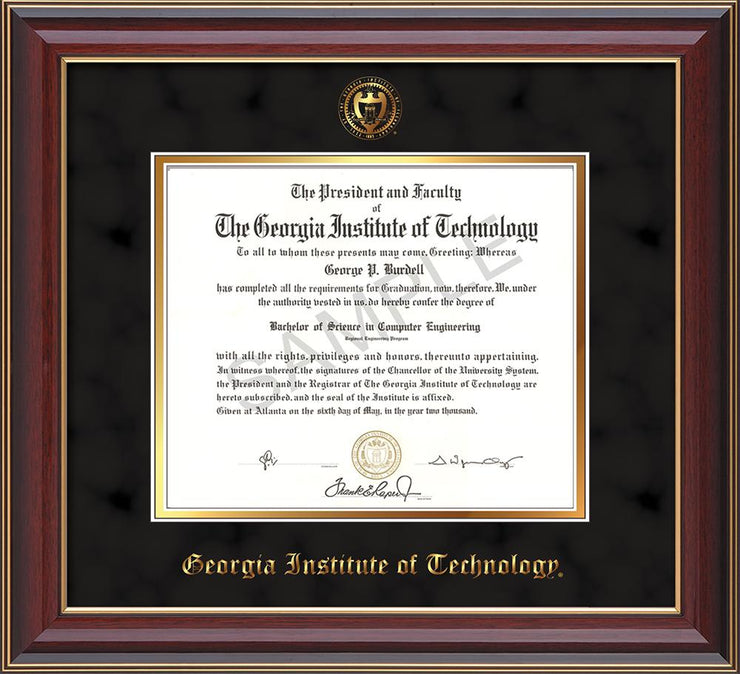 Georgia Tech Diploma Frame Cherry Lacquer Seal Black Suede On Gold Official Diploma Frames