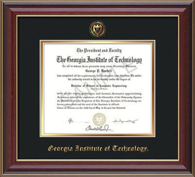 Image of Georgia Tech Diploma Frame - Cherry Lacquer - w/Embossed Seal & Name - Black on Gold mat