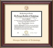Image of Georgia Tech Diploma Frame - Cherry Lacquer - w/Embossed Seal & Name - Cream on Black mat