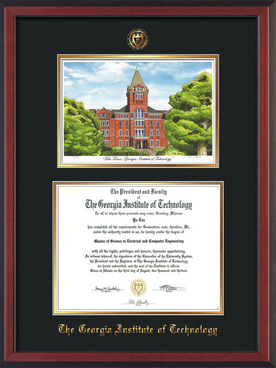 Image of Georgia Tech Diploma Frame - Cherry Reverse - w/Embossed GT Seal & Name - w/Campus Watercolor - Black on Gold mat