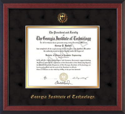 Image of Georgia Tech Diploma Frame - Cherry Reverse - w/Embossed Seal & Name - Black Suede on Gold mat