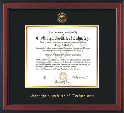 Image of Georgia Tech Diploma Frame - Cherry Reverse - w/Embossed Seal & Name - Black on Gold mat