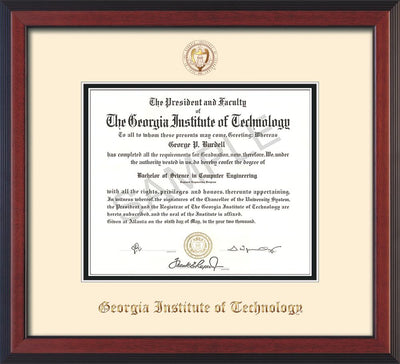 Image of Georgia Tech Diploma Frame - Cherry Reverse - w/Embossed Seal & Name - Cream on Black mat