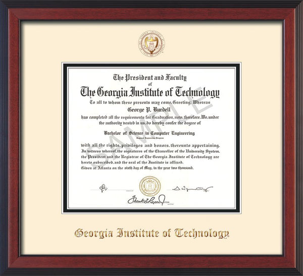 Georgia Tech Diploma Frame Cherry Reverse Seal Cream