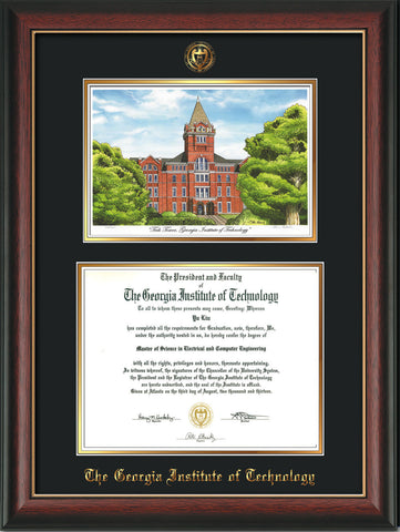 Image of Georgia Tech Diploma Frame - Rosewood w/Gold Lip - w/Embossed GT Seal & Name - w/Campus Watercolor - Black on Gold mat