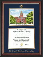 Image of Georgia Tech Diploma Frame - Rosewood w/Gold Lip - w/Embossed GT Seal & Name - w/Campus Watercolor - Navy on Gold mat