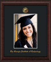 Image of Georgia Tech 5 x 7 Photo Frame - Mahogany Bead - w/Official Embossing of GT Seal & Name - Single Black mat