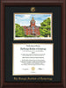 Image of Georgia Tech Diploma Frame - Mahogany Bead - w/Embossed GT Seal & Name - w/Campus Watercolor - Black on Gold mat