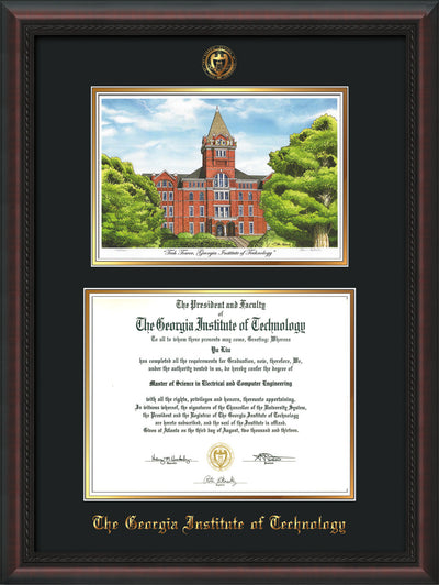 Image of Georgia Tech Diploma Frame - Mahogany Braid - w/Embossed GT Seal & Name - w/Campus Watercolor - Black on Gold mat
