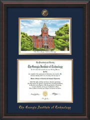 Image of Georgia Tech Diploma Frame - Mahogany Braid - w/Embossed GT Seal & Name - w/Campus Watercolor - Navy on Gold mat
