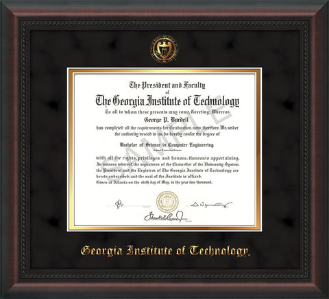 Image of Georgia Tech Diploma Frame - Mahogany Braid - w/Embossed Seal & Name - Black Suede on Gold mat