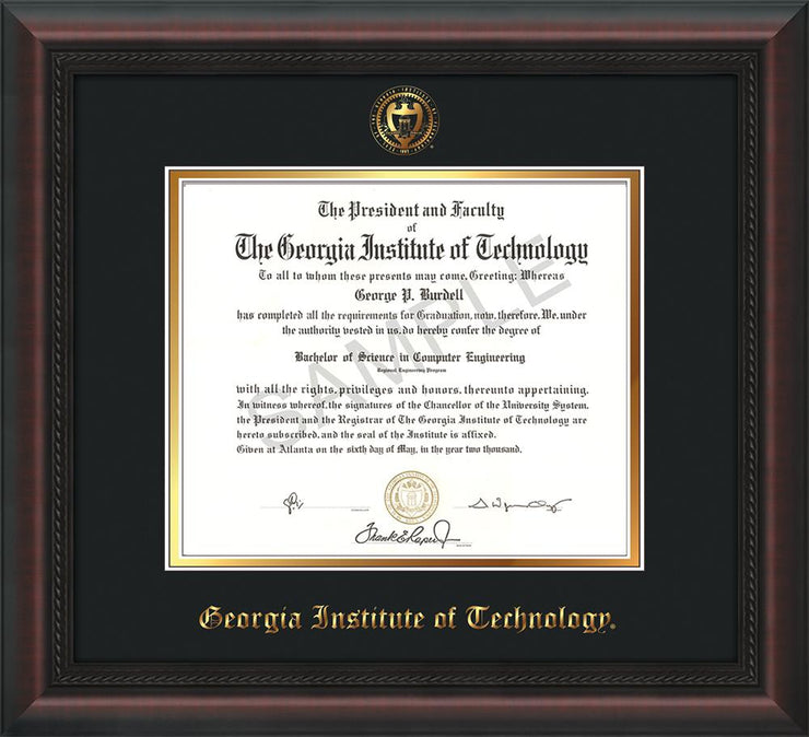 Image of Georgia Tech Diploma Frame - Mahogany Braid - w/Embossed Seal & Name - Black on Gold mat
