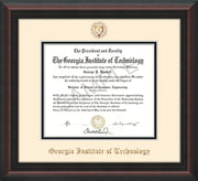 Image of Georgia Tech Diploma Frame - Mahogany Braid - w/Embossed Seal & Name - Cream on Black mat
