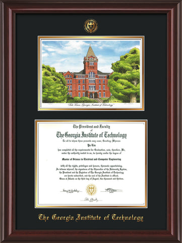 Image of Georgia Tech Diploma Frame - Mahogany Lacquer - w/Embossed GT Seal & Name - w/Campus Watercolor - Black on Gold mat