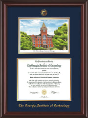 Image of Georgia Tech Diploma Frame - Mahogany Lacquer - w/Embossed GT Seal & Name - w/Campus Watercolor - Navy on Gold mat