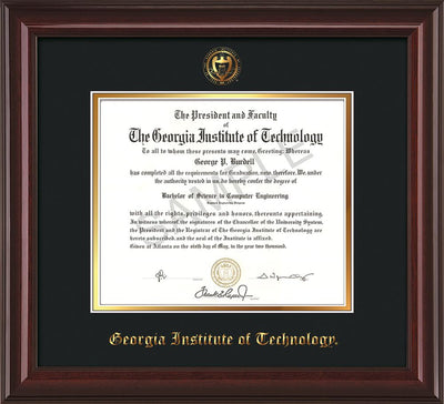 Image of Georgia Tech Diploma Frame - Mahogany Lacquer - w/Embossed Seal & Name - Black on Gold mat