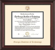 Image of Georgia Tech Diploma Frame - Mahogany Lacquer - w/Embossed Seal & Name - Cream on Black mat