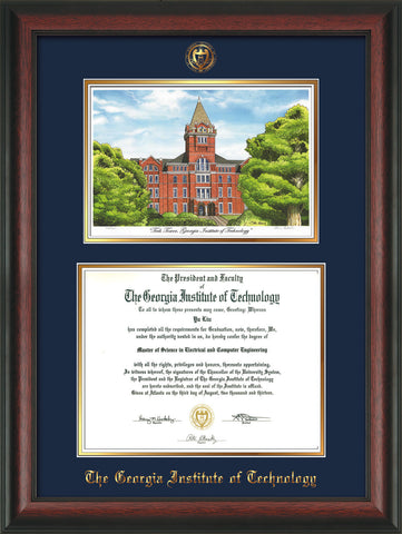Image of Georgia Tech Diploma Frame - Rosewood - w/Embossed GT Seal & Name - w/Campus Watercolor - Navy on Gold mat