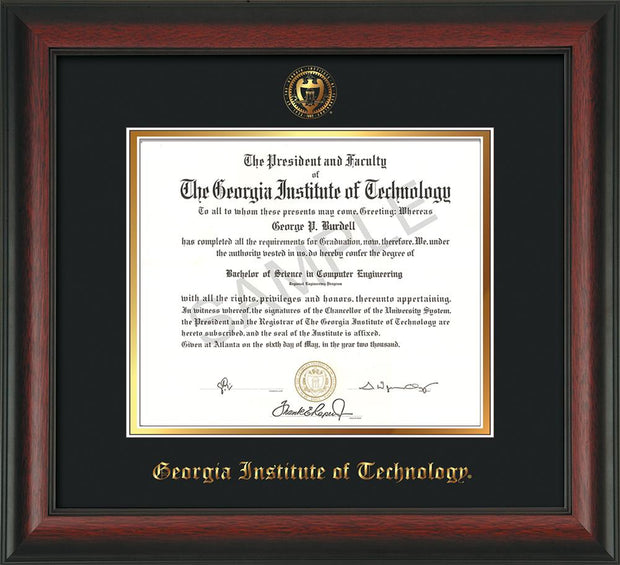 Image of Georgia Tech Diploma Frame - Rosewood - w/Embossed Seal & Name - Black on Gold mat