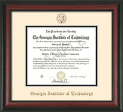 Image of Georgia Tech Diploma Frame - Rosewood - w/Embossed Seal & Name - Cream on Black mat