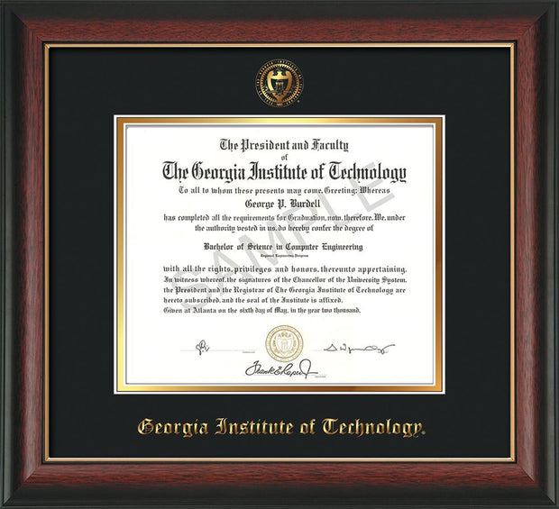Image of Georgia Tech Diploma Frame - Rosewood w/Gold Lip - w/Embossed Seal & Name - Black on Gold mat