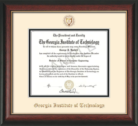 Image of Georgia Tech Diploma Frame - Rosewood w/Gold Lip - w/Embossed Seal & Name - Cream on Black mat