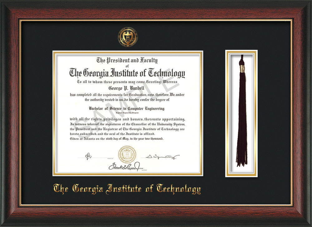 Georgia Tech Diploma Frame - Rosewood w/Gold Lip - w/Embossed Seal & Name -  Tassel Holder - Black on Gold Mat