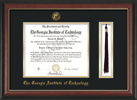 Image of Georgia Tech Diploma Frame - Rosewood w/Gold Lip - w/Embossed Seal & Name - Tassel Holder - Black on Gold Mat