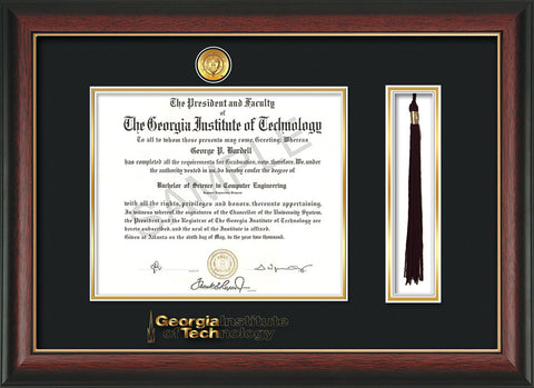 Image of Georgia Tech Diploma Frame - Rosewood w/Gold Lip - w/Medallion & Wordmark - Tassel Holder - Black on Gold Mat