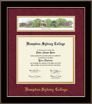 Image of Hampden-Sydney College Diploma Frame - Black Lacquer - w/Embossed HSC Seal & Name - Campus Collage - Maroon Suede on Gold mat