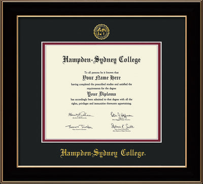 Image of Hampden-Sydney College Diploma Frame - Black Lacquer - w/Embossed HSC Seal & Name - Black on Maroon mat