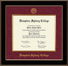 Image of Hampden-Sydney College Diploma Frame - Black Lacquer - w/Embossed HSC Seal & Name - Fillet - Maroon Suede mat