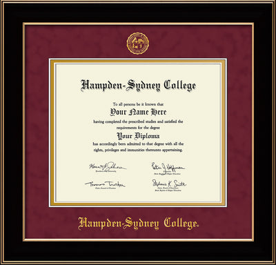 Image of Hampden-Sydney College Diploma Frame - Black Lacquer - w/Embossed HSC Seal & Name - Maroon Suede on Gold mat
