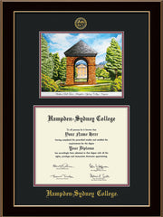 Image of Hampden-Sydney College Diploma Frame - Black Lacquer - w/Embossed HSC Seal & Name - Watercolor - Black on Maroon mat