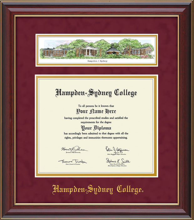 Image of Hampden-Sydney College Diploma Frame - Cherry Lacquer - w/Embossed HSC Seal & Name - Campus Collage - Maroon Suede on Gold mat