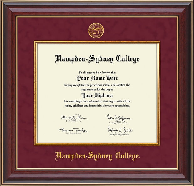 Image of Hampden-Sydney College Diploma Frame - Cherry Lacquer - w/Embossed HSC Seal & Name - Fillet - Maroon Suede mat